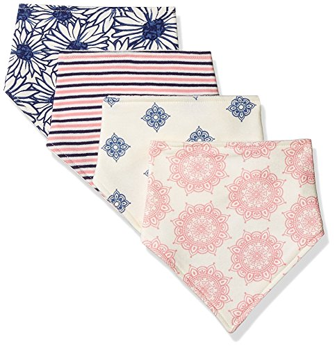 Touched by Nature Baby Organic Cotton Bandana Bibs 4-Pack, Daisy, 0-9 Months