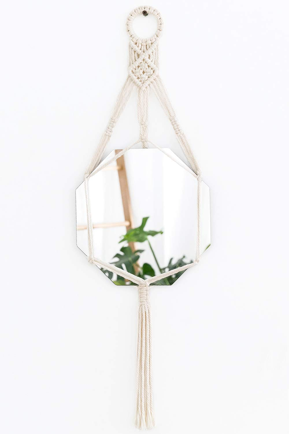 Mkouo Small Octagonal Hanging Mirror Macrame Chic Wall Decor
