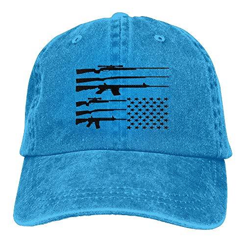 WANING MOON USA Flag Gun Cowboy Hat Adjustable Baseball Cap Sunhatcap Peaked Cap