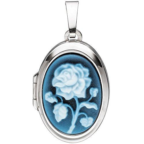 Médaillon 2photos Pendentif pour ouvrir gemme agate bleue & rose ovale 925Argent