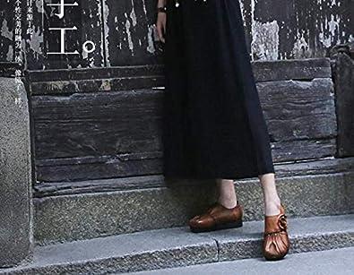 SHUQI Womens Retro Flat Leather Flower Velcro Comfort Round Head Single Shoes