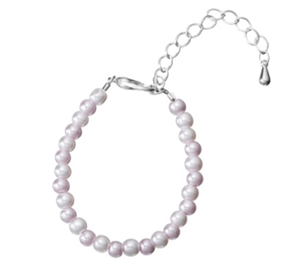 Crystal Dream Pink and White Czech Glass Pearls Baby Bracelet with 2'' Extender (BPG27_M)