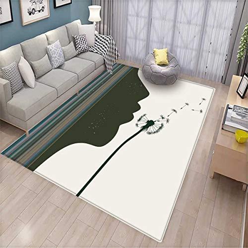 Modern Room Home Bedroom Carpet Floor Mat Silhouette of a Woman Girl Portrait and Dandelion Flower by Vertical Color Stripes Floor Mat Pattern Multicolor -