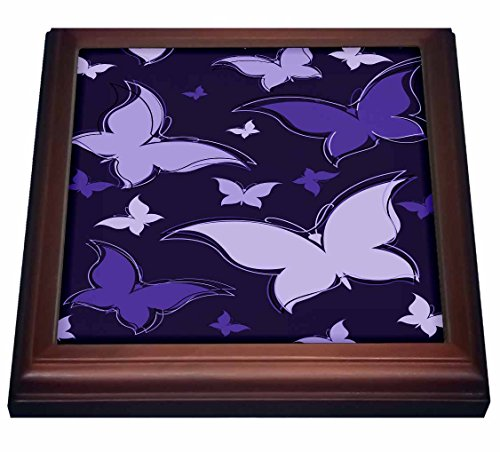 3dRose trv_101546_1 Purple Graphic Butterflies Trivet with Ceramic Tile, 8 by 8
