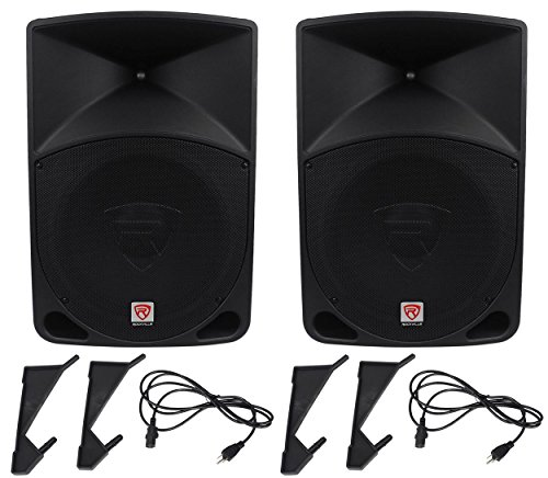 Pair Rockville Power Gig RPG15 15'' Powered Active 2000 Watt 2-Way DJ PA Speakers by Rockville