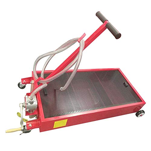 Manoch 20 Gallon Oil Drain Pan Low Profile Dolly With Pump 8 Feet Hose and Wheels Car Truck Material: Steel Color: Red Capacity: 20 Gallon Overall Dimensions: (51.57 x 25.2 x 31.5)