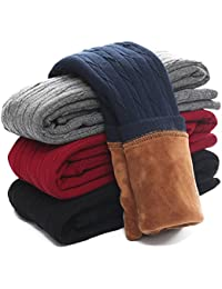 Kids Girls Winter Warm Velvet Leggings Stretch Cotton Cable Knit Fleece Lined Pants Tights