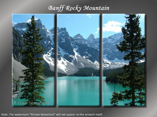 Picture Sensations Framed Huge 3-Panel Modern Canada Banff Rocky Mountain Giclee Canvas Print