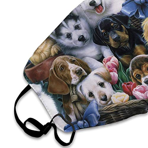 Face Masks, Breathable Dust Filter Masks Medical Mask Mouth Cover Masks with Elastic Ear Loop (Animals Dog Print) White