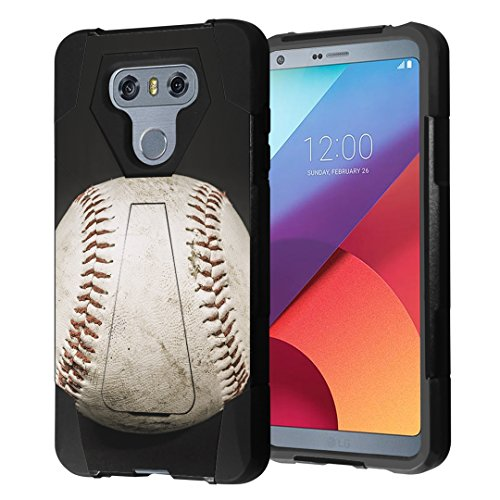 LG G6 Case, Capsule-Case Hybrid Fusion Dual Layer Shockproof Combat Kickstand Case (Black) for LG G6 (2017) - (Baseball)