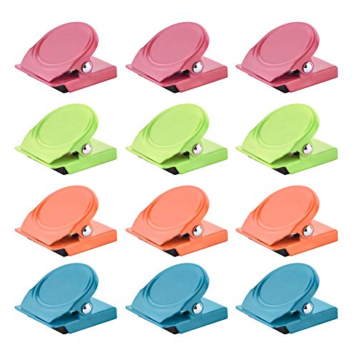 Cosmos Metal Magnetic Clip Refrigerator Clip Whiteboard Memo Note Clip for Home Kitchen Office use, Pack of 12 in 4 Colors