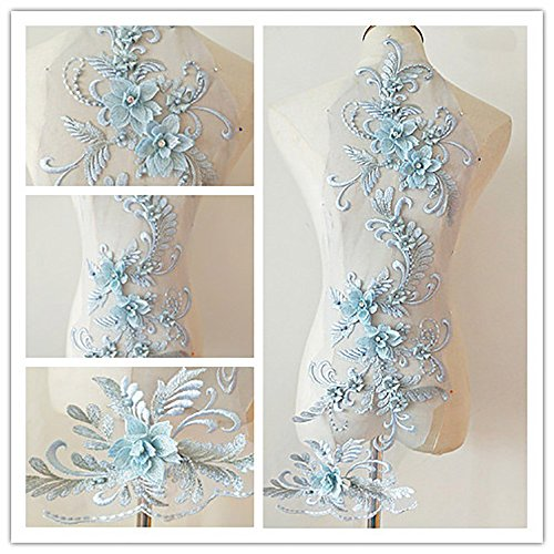 3D beaded flower sequence lace applique motif sewing bridal wedding 3in1 20cmx72cm (Pale Blue)