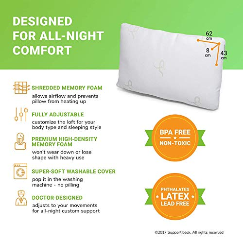Supportiback Premium Adjustable Loft Pillow - Snore Relief Shredded Memory Foam Pillow with Cooling Effect - Bamboo Derived Washable Cover - Doctor Designed/CertiPUR Certified (Shredded Bed Pillow+)