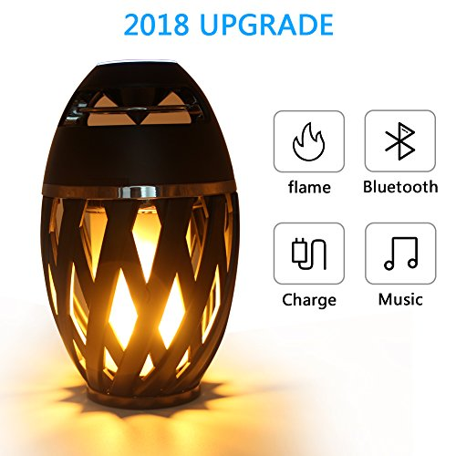 Led Flame Speaker,Father's Day gift,Desk Lamp Bluetooth USB Outdoor/Indoor Portable Torch atmosphere Speaker,Dancing Flicker Flame Camping Lamp Wireless BT 4.2 for iPhone/iPad/Android by Jeantan