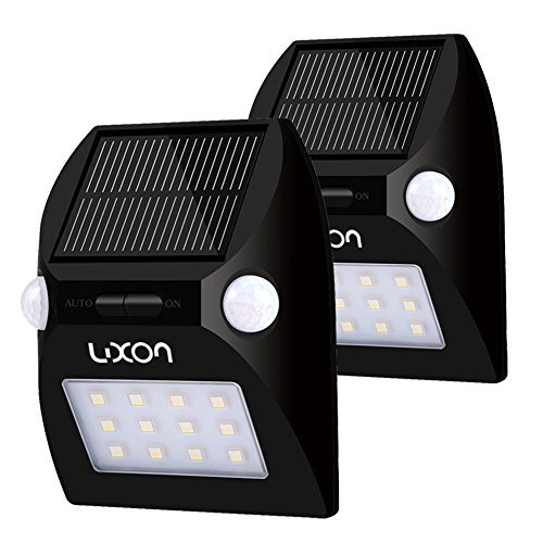 Solar Motion Sensor Lights RGB Wireless Waterproof Outdoor Security Light Dusk to Dawn LED Light for Patio, Deck, Yard, Garden with Motion Activated Auto On/Off 2 Pack by LUXON