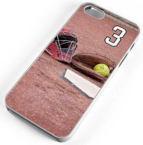 Softball Catcher Home Plate Clear Rubber Cell Phone Case Fits iPhone 6s or 6 Player Jersey Number ()