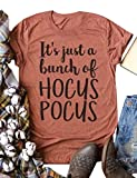 ZXH Women It's Just A Bunch of Hocus Pocus Letter Print T-Shirt Casual Round Neck Short SleeveTee Tops Blouse