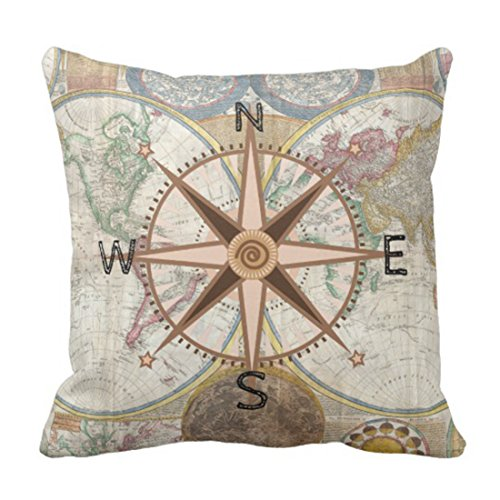 Emvency Throw Pillow Cover World Explorer Compass Rose Decorative Pillow Case Vintage Home Decor Square 20 x 20 Inch Cushion Pillowcase