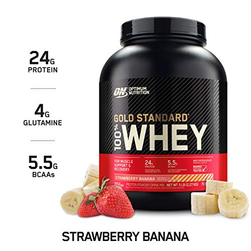Optimum Nutrition Gold Standard 100% Whey Protein Powder, Strawberry Banana, 5 Pound (Packaging May...