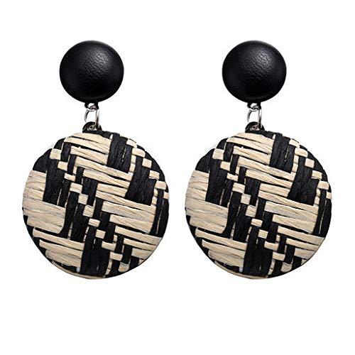 Cathy Clara Bohemian Style Wood Bamboo Rattan Geometric Round Earrings Ladies Jewelry for Women Sterling Silver Hoop Earrings