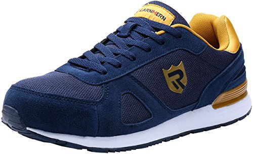 LARNMERN Mens Womens Steel Toe Work Shoes,LM-23 Safety Shoes Lightweight Breathable Casual Protection Footwear Blue