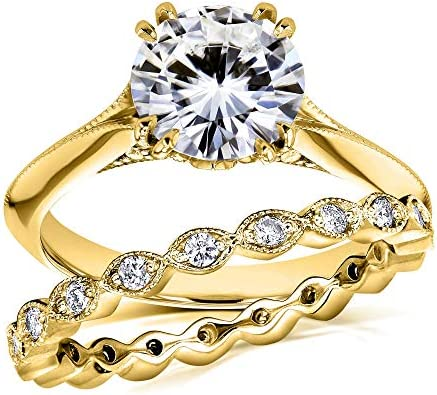Kobelli Moissanite Bridal Set Subtle Floral Motif 1 7/8 CTW 14k Yellow Gold (FG/VS, GH/I)