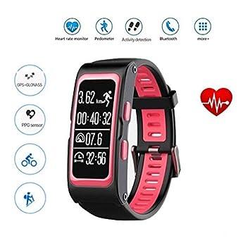 Hombre Mujer Reloj con GPS de Deportivo con Pulsómetro,Bluetooth Smart Sport Wrist HR Reloj Multideporte Pulsera Watch Fitness Tracker Contador de ...