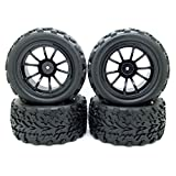 JIUWU Black 1:10 RC Off-road Car Rubber Wheels Tires Tyre & Truck Plastic Wheel Rim for HSP Monster Bigfoot Pack of 4