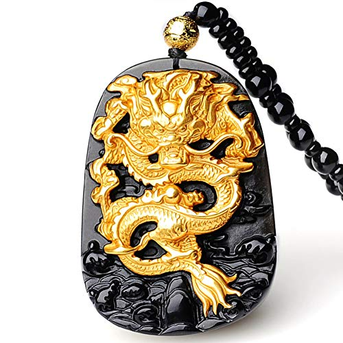 Dragon Yellow Pendant - EASTCODE Charming 18K 999 Pure Yellow Gold Inlay Natural Obsidian Black Jade Dragon Pendant Necklace