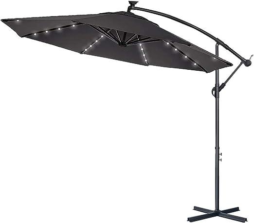 LARS360 Sombrilla Parasol Excéntrico Banana Con Solar LED para ...