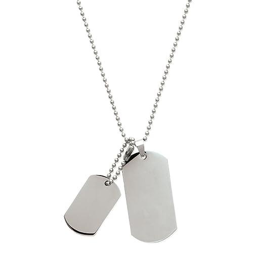 miglior servizio a5e2d 95291 Mary Jane, collana con piastrina militare, da uomo, in acciaio,  personalizzabile, lunghezza: 50 cm