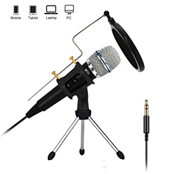 PC/Phone Microphone, XIAOKOA 3 5mm Jack Handheld Mic with USB Sound  Adapter, Tripod Stand and Pop Filter for Youtube, MSN, Facebook, Skype  Online