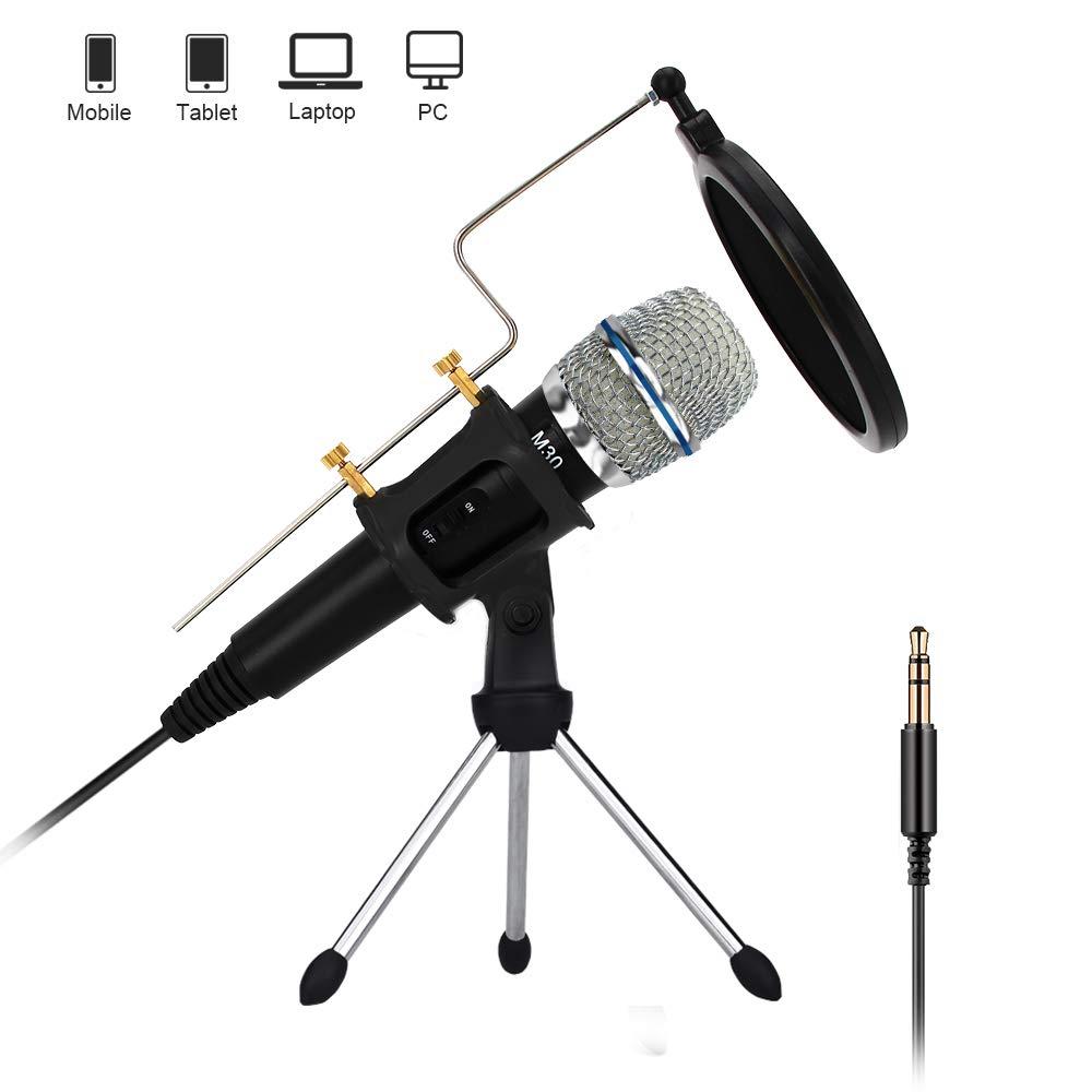 Grabacion De Microfono De Condensador Profesional Con Soporte Para Pc Computadora iPhone Telefono Android iPad Podcastin
