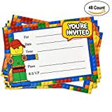 48 Pack Building Block Birthday Party Invitations with Envelopes Favor Supplies Decorations for Kids Teen Girls Boys by Gift Boutique