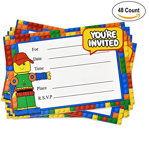 48 Pack Building Block Birthday Party Invitations with Envelopes Favor Supplies Decorations for Kids Teen Girls Boys by Gift - Sunglasses 48k