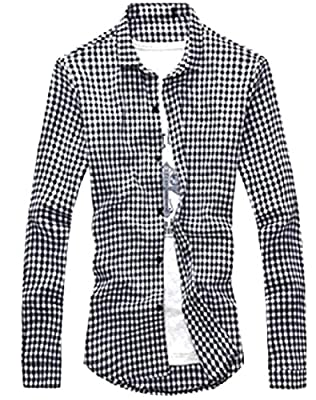 SportsX Men's Long Sleeve Small Plaid Solid Colored Western Shirt