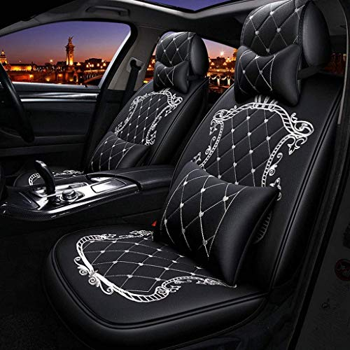 Lykaci Car Seat Covers Set Leather, Universal 5 Seats Seat Cushions for the front seats and rear seat Seats Seat cover with cushions (Color : White):