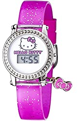 Hello Kitty Watch Digital LCD Display on White Dial with Hello Kitty Image Pink Strap and Bowtie Charm