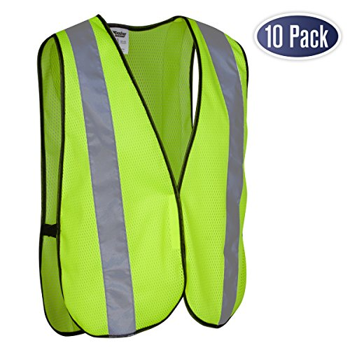 Safety Vest with High Visibility - 2 Inch Reflective Strips, Bright Neon Yellow, Breathable Polyester Mesh Fabric, ANSI ISEA Class Unrated, Hi Viz All Day and Night, One Size Fits Most (10 Pack)