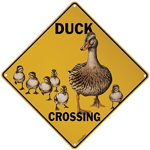 MMOUNT Duck lings Cross Warning Sign Art Metallic Iron Painting Bar Living Room Bedroom Retro Design Home Kitchen Decoration Funny Food Signs12X12Inch -