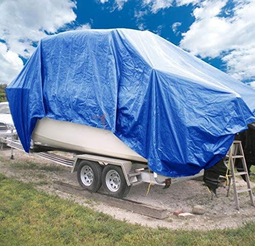 Waterproof Multi-Purpose Blue Poly Tarp Cover Heavy Duty 5 Mil Thick Weave Material RV or Pool Cover and More Great for Tarpaulin Canopy Tent 40 Ft X 60 Ft Boat