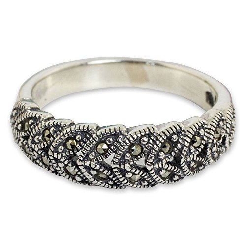 NOVICA Marcasite .925 Sterling Silver Handcrafted Floral Cocktail Ring, 'Olive Garland'