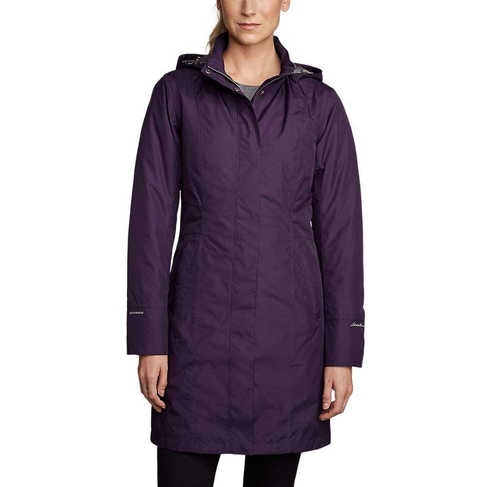 Eddie Bauer Women's Girl On The Go Insulated Trench Coat, Deep Eggplant Petite M by Eddie Bauer