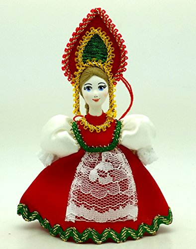 (Russian Doll with porcelain hand painted face CHRISTMAS ORNAMENT Girl in a blue)