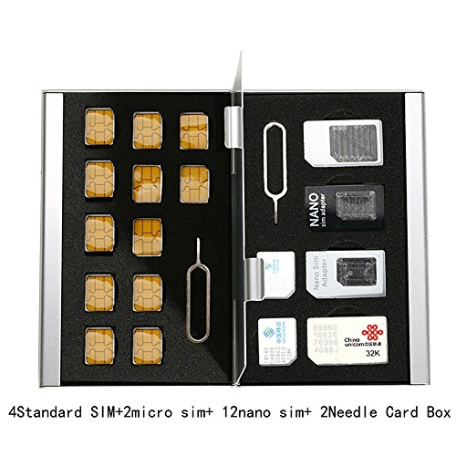 Myymee 4 Standard SIM Card Holders + 2 Micro Sim Card Holders+ 12 Nano Sim Card Holders,Metal Aluminum alloy SD Card Holder Case Mobile Phone Memory Card Storage Case Silver