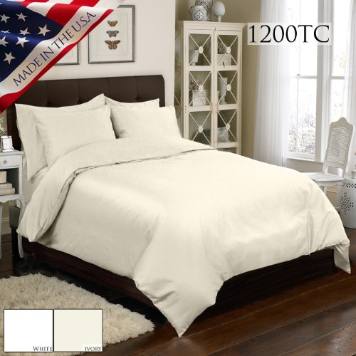 Made In The Usa 1200Tc 100  Cotton Sateen Duvet And Sham Set King  White By Veratex