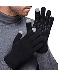 Mens&Womens Non-Slip Touchscreen Gloves Winter Warm Knit Wool Lined Texting Glove