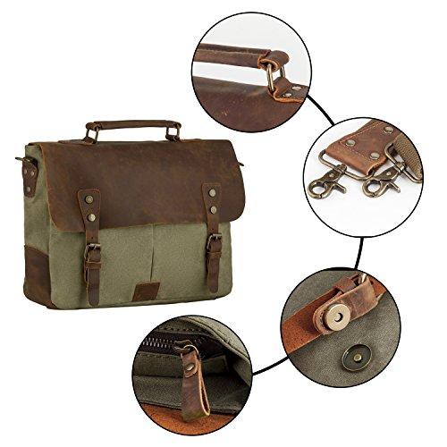 Bolsa de Mensajero, P.KU.VDSL Unisex Vintage Bolsos de Bandolera para Hombres Mujeres Mochila de Hombro para Ordenador Portátil Army Green