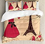 Heels and Dresses Duvet Cover Set Queen Size by Ambesonne, Paris Boutique French Retro Dress Shoes Eiffel Tower, Decorative 3 Piece Bedding Set with 2 Pillow Shams, Dark Brown Pink Pale Salmon