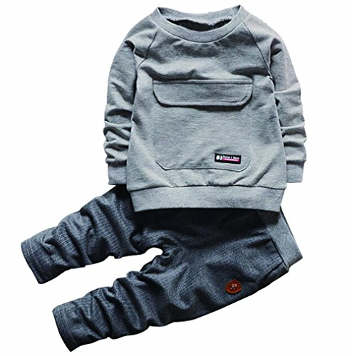2PCS Baby Boys Girls Cartoon Clothing Set Long Sleeve Shirt and Pants 2Years Grey (Fashion Clothes compare prices)